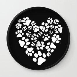 Dog Paw Prints Heart Wall Clock