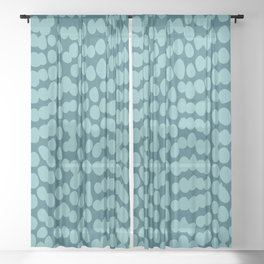 Tropical Abstract Dot Pattern, Teal Sheer Curtain