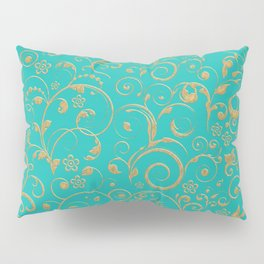 Gold and turquoise Pillow Sham