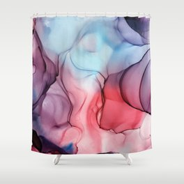 Flame Fired Alcohol Ink Painting Shower Curtain