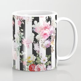 Bold pink watercolor roses floral black white stripes Coffee Mug
