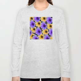 Playful Purple Lilac and Happy Yellow Floral Pattern Long Sleeve T-shirt