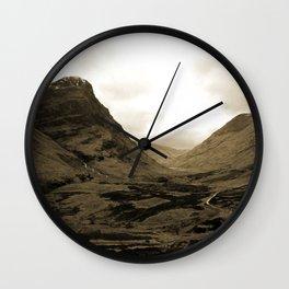 Glencoe, Scottish Highlands, Scotland in Sepia Wall Clock