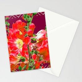 Burgundy  Red Orange Holly Hocks Pattern  Color Floral Art Stationery Cards