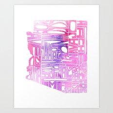 Typographic Arizona - Pink Watercolor Art Print
