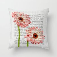 writing Throw Pillows featuring Old Writing by Susann Mielke