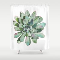 succulent Shower Curtains featuring Succulent by LouiseDemasi