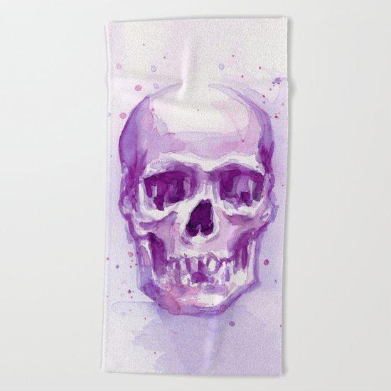 Pink Skull Watercolor Purple Abstract Beach Towel