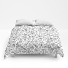 Marigolds black on white Comforters