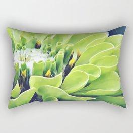 Green Zinnia Rectangular Pillow