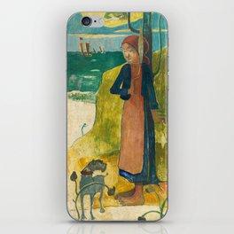 Paul Gauguin - Breton Girl Spinning iPhone Skin