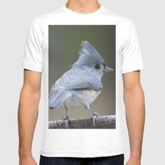 A Tufted Titmouse MEDIUM White Mens Fitted Tee