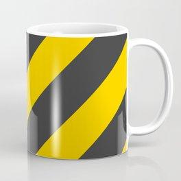 Stripes Diagonal Black & Yellow Coffee Mug