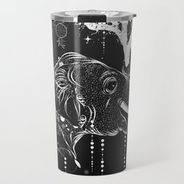 Surrealistic dream, paper boat, elephant, tree and gramophone Travel Mug