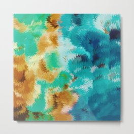 green blue and brown painting abstract background Metal Print