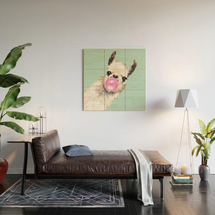 Bubble Gum Sneaky Llama in Green Wood Wall Art