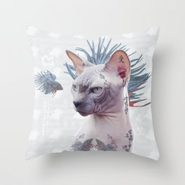 Smells Like Spring tattooed cat Throw Pillow
