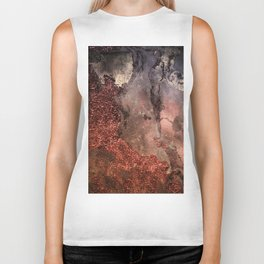 Copper Glitter Stone and Ink Abstract Gem Glamour Marble Biker Tank