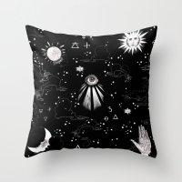 spiritual Throw Pillows featuring Spiritual Alchemy by Deborah Panesar Illustration