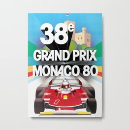 Monaco Gran Prix 38e 1980 Vintage Poster, Artwork for Wall Art, Prints, Poster, Tshirts, Men, Women, Kids Metal Print