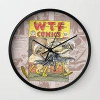 comic book Wall Clocks featuring A Comic Book Villian  by Berni Store