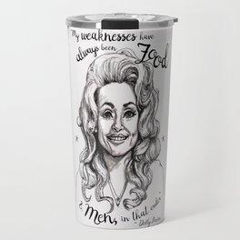 Pen & Marker Drawing of Dolly Parton Travel Mug