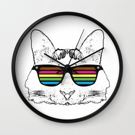 Psychedelic cat  Wall Clock