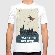 I Want To Believe - Hogwarts X-LARGE White Mens Fitted Tee