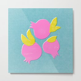 Trendy pomegranate print. Minimalistic illustration. Metal Print