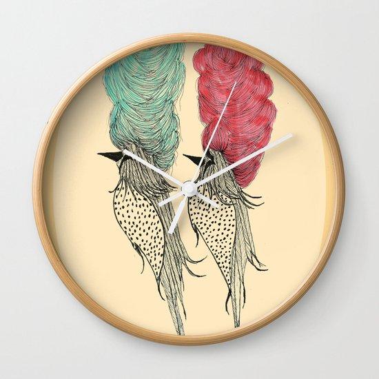 Bouffant Birds Wall Clock