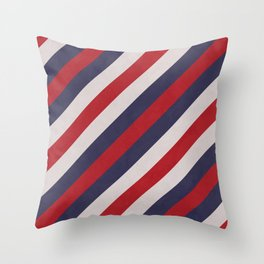 Red, Navy Blue & White Stripes Pattern Throw Pillow