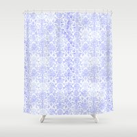 damask Shower Curtains featuring Periwinkle Damask by SimplyChic
