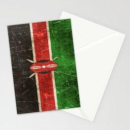 Vintage Aged and Scratched Kenyan Flag Stationery Cards
