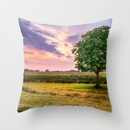 Green Tree and Sunset Sky Throw Pillow