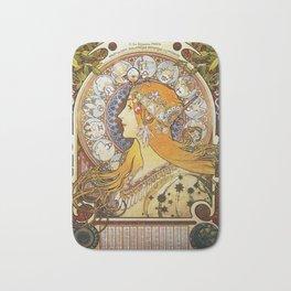 Alphonse Mucha - La Plume / Zodiac (1896) Bath Mat