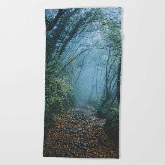 woods path Beach Towel