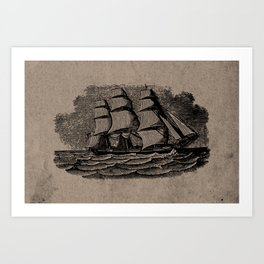 Vintage Sailing Ship - Antique Book Plate Etching - Retro Style Brown and Black Art Print