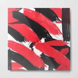 Modern Abstract Black Red Brush Strokes Pattern Metal Print