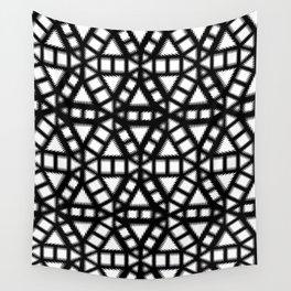 Black and White Pinwheel Pattern Illustration - Digital Geometric Artwork Wall Tapestry