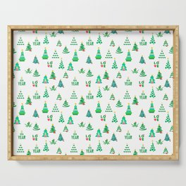 Seamless set of funny and cute Christmas and new year images Serving Tray