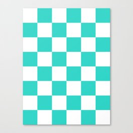 Large Checkered - White and Turquoise Canvas Print