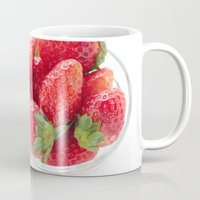 strawberry Mugs featuring strawberry by yumehana design fine art photography