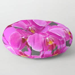 MODERN CHARCOAL GREY COLOR CERISE PURPLE ORCHIDS Floor Pillow