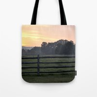 woodstock Tote Bags featuring Billings Farm Sunrise at Woodstock, Vermont  by Ruben Alexander