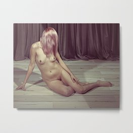 Nude woman sitting on a dirty old stage floor #A7286 Metal Print