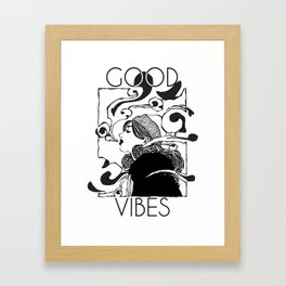 Good Vibes B&W Framed Art Print