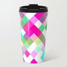 geometric square pixel pattern abstract in pink green yellow blue Travel Mug