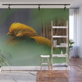 Emerging from the Green: Golden-Red Pheasant Wall Mural
