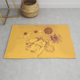 Bright Gold Breakup Flowers, Real Flowers, Daisies, Flower Photo, Rustic, Soft Grunge, Decaying Flowers Rug