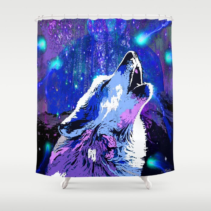 WOLF MOON AND SHOOTING STARS Shower Curtain
